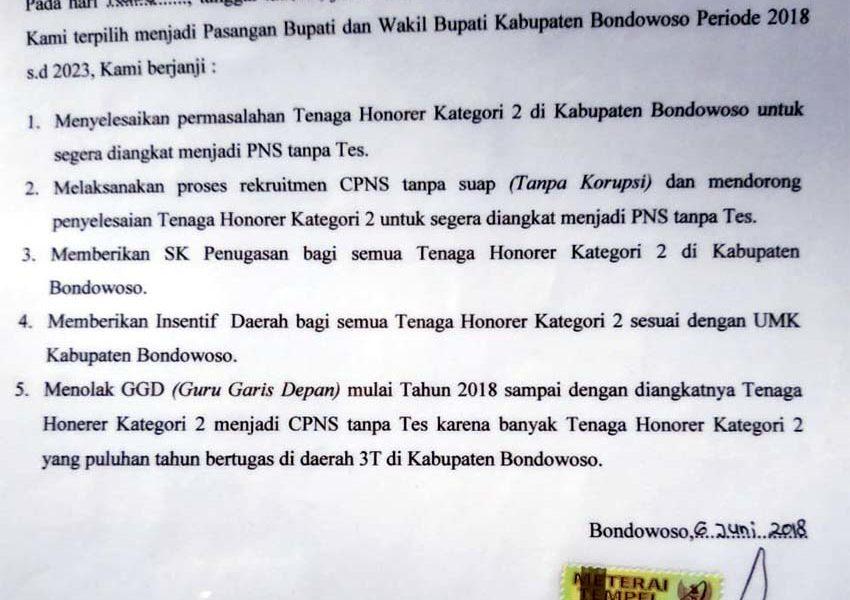 Lembar Kontrak Politik Bupati KH Salwa Arifin
